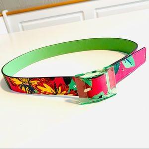 Kate Spade Reversible Green Floral Leather Belt